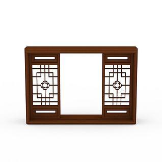 中式实木雕花窗户3d模型