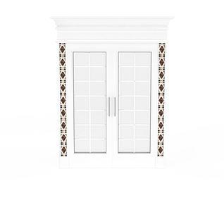 欧式白色雕花门窗3d模型