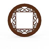 中式实木雕花圆形窗户3D模型3d模型