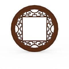 中式实木雕花圆形窗户模型3d模型