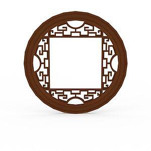 中式实木雕花圆形窗户模型