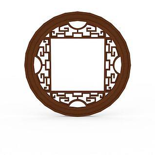 中式实木雕花圆形窗户3d模型