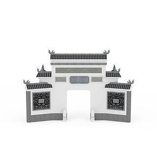 徽派建筑大门3d模型