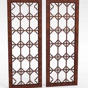中式实木雕花窗户模型
