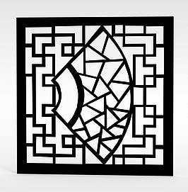 现代黑色雕花窗户模型