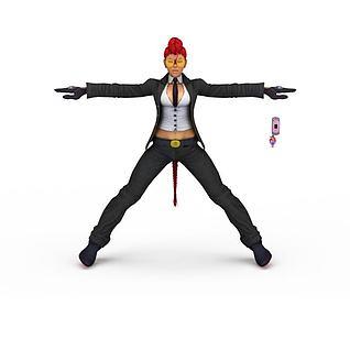游戏人物女人3d模型