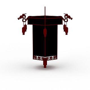中式大红灯笼吊灯3d模型3d模型