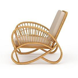 现代休闲藤椅3d模型