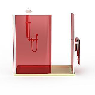 红色钢化玻璃沐浴间3d模型