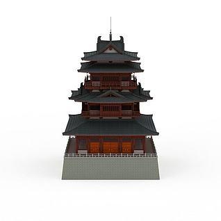 唐代塔楼古建3d模型
