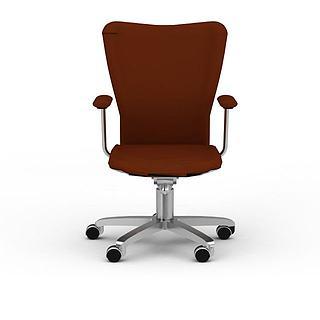 现代棕色办公转椅3d模型
