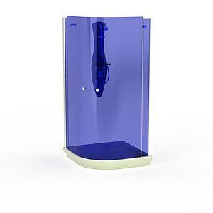 蓝色钢化玻璃沐浴间模型