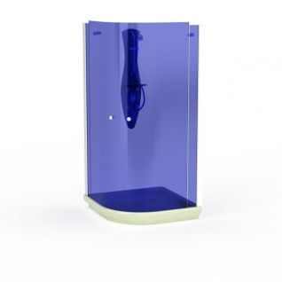 蓝色钢化玻璃沐浴间3d模型