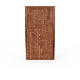 中式实木雕花门窗3d模型