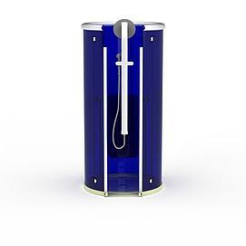 现代蓝色圆形沐浴间模型