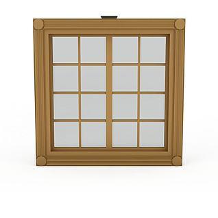 现代实木格子窗户3d模型