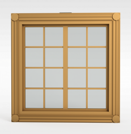 现代实木格子窗户模型