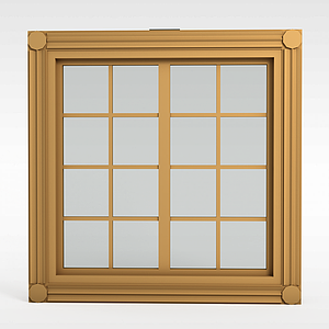 現代實木格子窗戶模型3d模型
