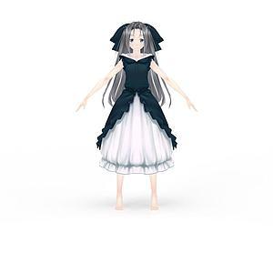 动漫角色游戏人物女孩3d模型