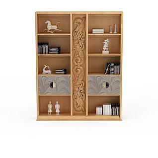 中式实木雕花边柜模型