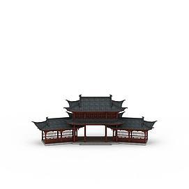 古建廊架3d模型