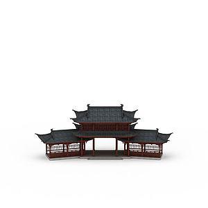 3d古建廊架模型