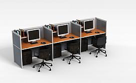 现代简约办公格子电脑桌3d模型