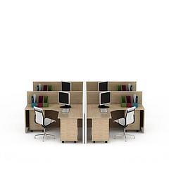 现代实木格子办公桌电脑桌3D模型3d模型