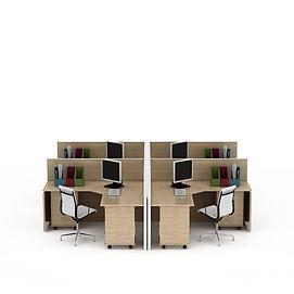现代实木格子<font class='myIsRed'>办公桌</font>电脑桌3d模型