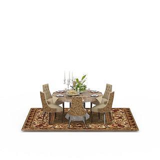 现代豹纹餐桌餐椅组合3d模型