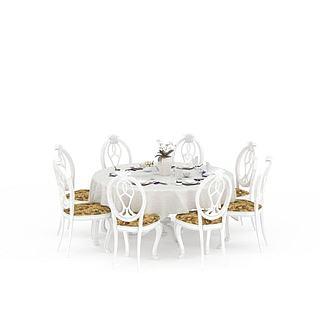 宴会餐桌<font class='myIsRed'>餐椅</font>组合3d模型