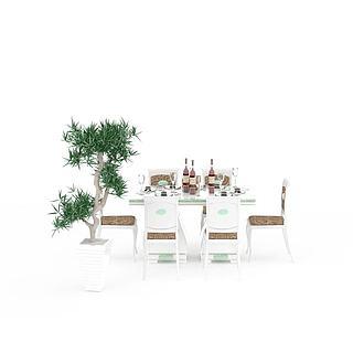 现代拼色餐桌餐椅组合3d模型