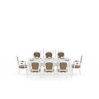 欧式现代白色餐桌餐椅组合3d模型