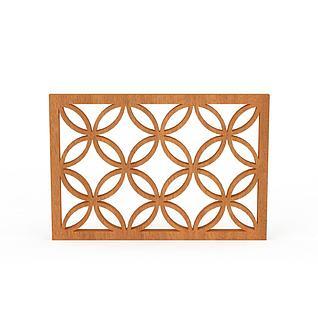 实木雕花窗户3d模型