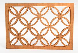 实木雕花窗户模型