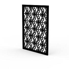 精美黑色雕花实木窗户模型