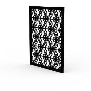 精美黑色雕花實木窗戶模型3d模型