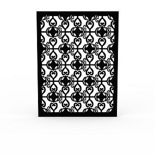 精美黑色雕花实木窗户3d模型