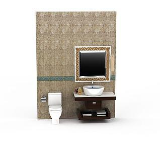 现代实木洗手台3d模型