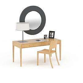 简约实木居家<font class='myIsRed'>办公桌</font>椅组合3d模型