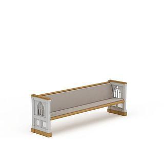 欧式休闲长凳3d模型