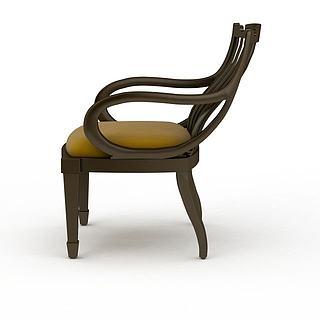 实木休闲椅3d模型
