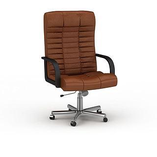 现代棕色办公椅3d模型