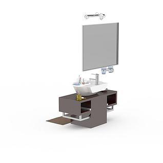 现代简约实木洗手台3d模型