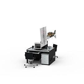 现代黑白拼色电脑桌<font class='myIsRed'>办公桌</font>3d模型