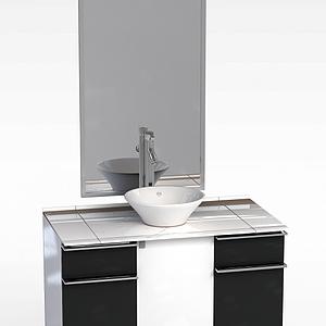简约黑白拼色洗手台模型