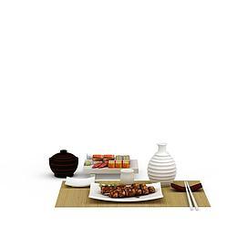 精美日式餐具食品组合模型