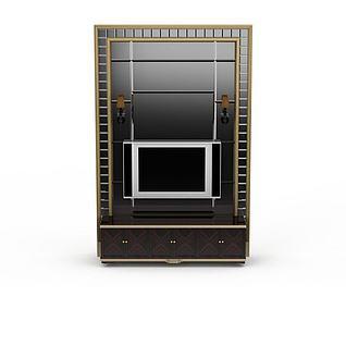现代电视柜背景墙3d模型