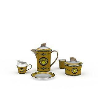 欧式陶瓷印花茶具3d模型