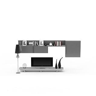 现代灰色电视柜背景墙套装3d模型